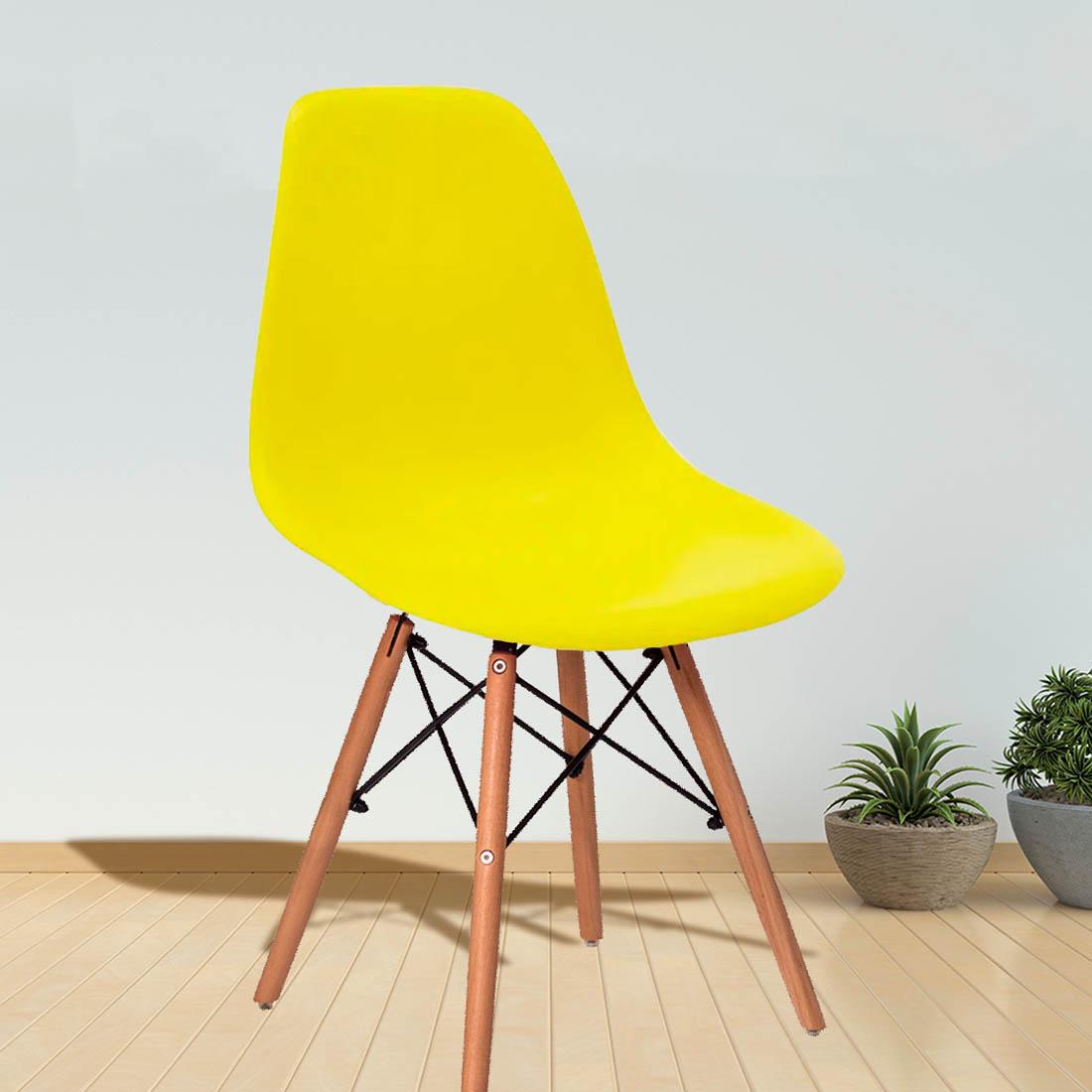 Cadeira Eames Eiffel Base Madeira Amarela Vestcasa Vestcasa
