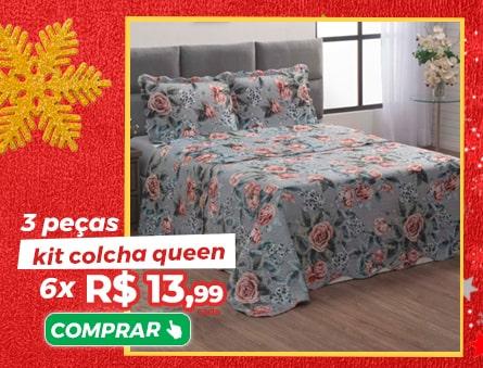 3 Peças kit colcha queen 6x R$13,99 cada