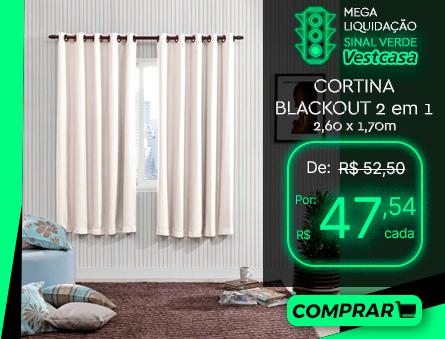 MEGA LIQUIDAÇÃO SINAL VERDE Vestcasa CORTINA BLACKOUT 2 em 1 2,60 x 1,70m COMPRAR