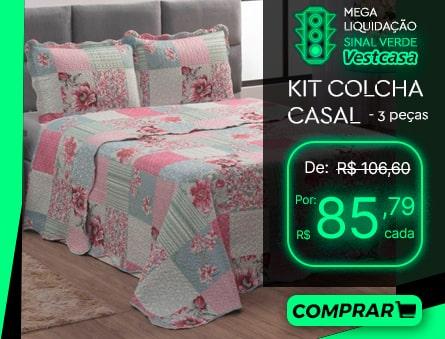 MEGA LIQUIDAÇÃO SINAL VERDE Vestcasa KIT COLCHA CASAL - 3 peças COMPRAR