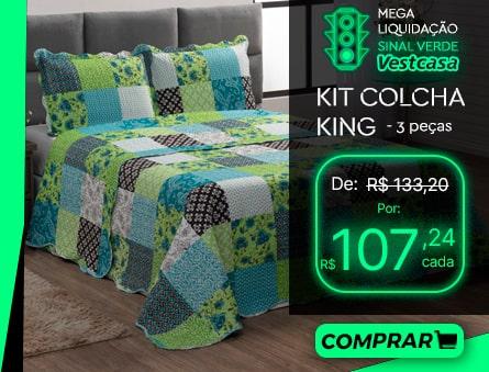 MEGA LIQUIDAÇÃO SINAL VERDE Vestcasa KIT COLCHA KING - 3 peças COMPRAR
