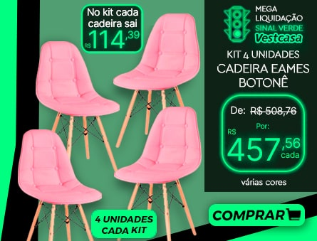 No kit cada cadeira sai 4 unidades cada kit MEGA LIQUIDAÇÃO SINAL VERDE Vestcasa 4 UNIDADES CADEIRA EAMES BOTONÊ várias cores COMPRAR