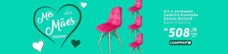 Mês das Mães vestcasa - Kit 4 Unidades Cadeira Estofada Eames Botonê Base de Madeira R$508,76 cada kit